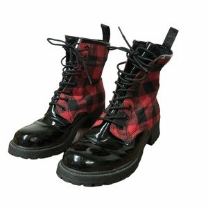 G by Guess Red & Black Plaid Combat Boots 7.5